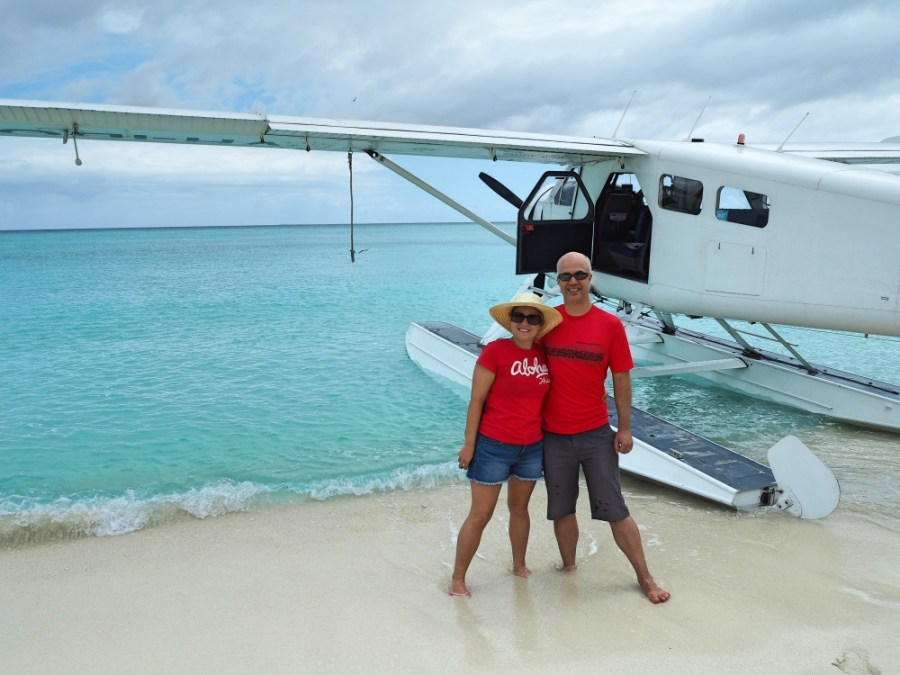 About to take a flight on a sea plane at the end of our trip to Heron Island, Queensland