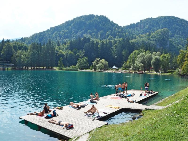 A swimming platform on Lake Bled.
