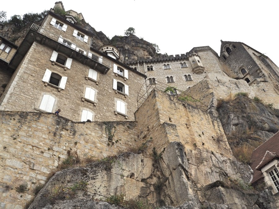 Old buildings built on the cliff.