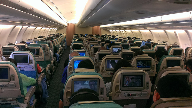 A cabin in economy class