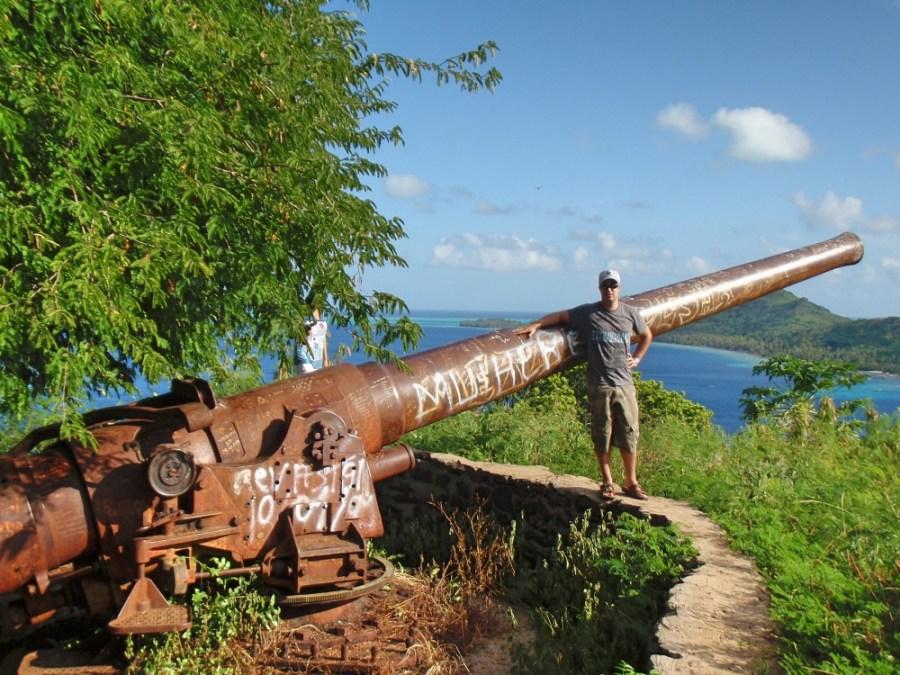 A WWII canon abandoned at Faanui Canon lookout.
