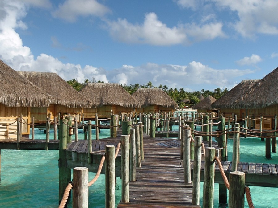 The overwater bungalows of the Pearl Beach Resort.