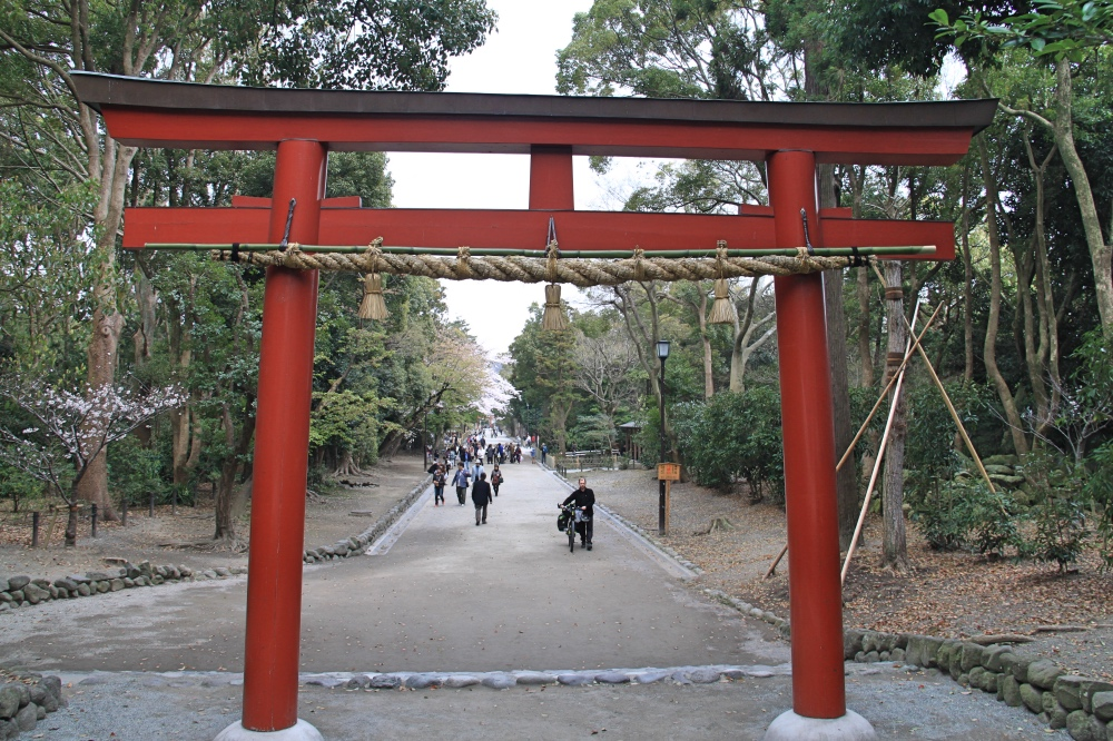 One of the many tori gates leading to Tsurugaoka Hachiman-gu.