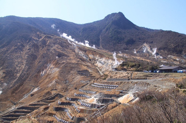 View of Owakudani from the ropeway.