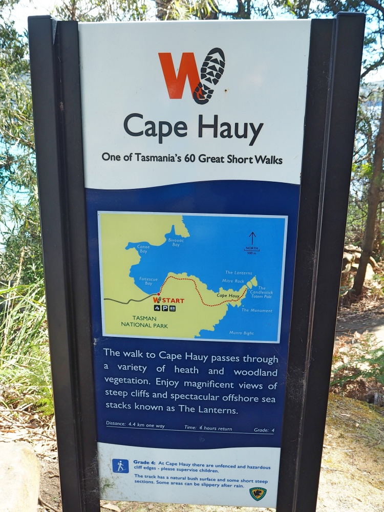 The sign at the start of hike.