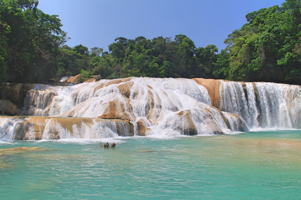 The beautiful Agua Azul in the Chiapas.