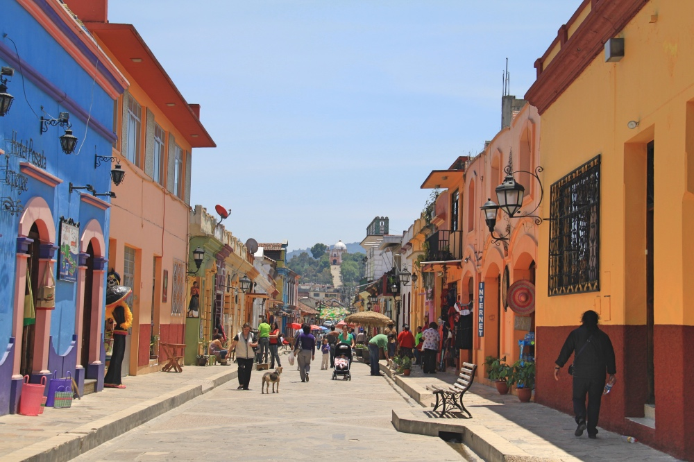 The colourful pedestrian streets of San Cristobal.
