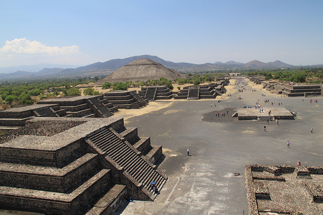 The view from the pyramid of the sun in Teotihuacan