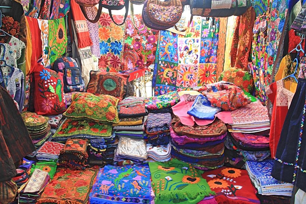 Colourful fabrics at the market.