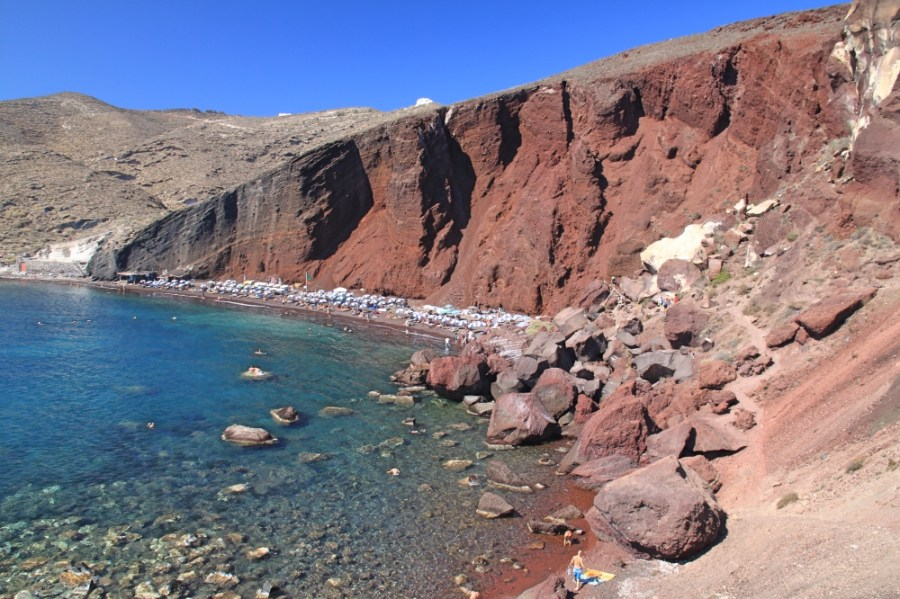 The popular Red beach.