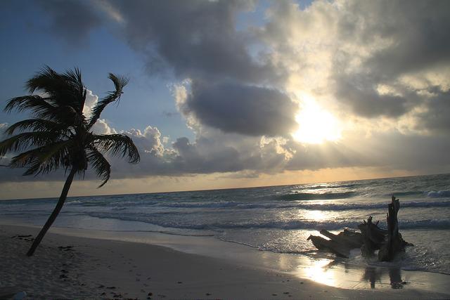 A beautiful sunrise on Tulum beach