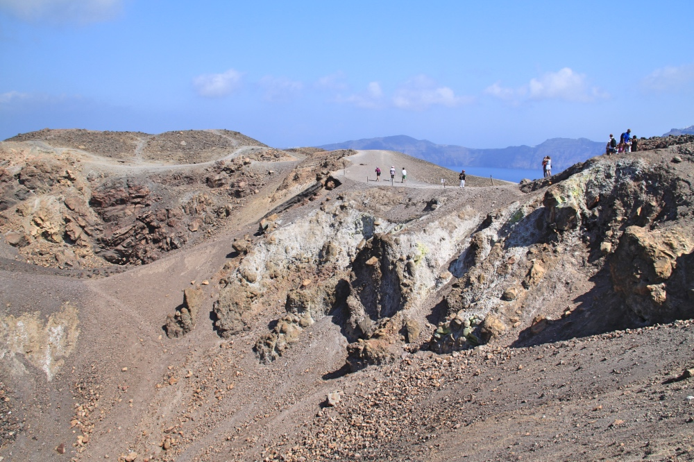 Walking on the crater of the volcano.