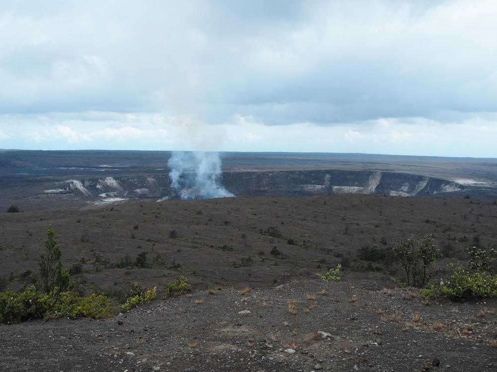 The view over the Halema'uma'u Crater from the Jagger Museum