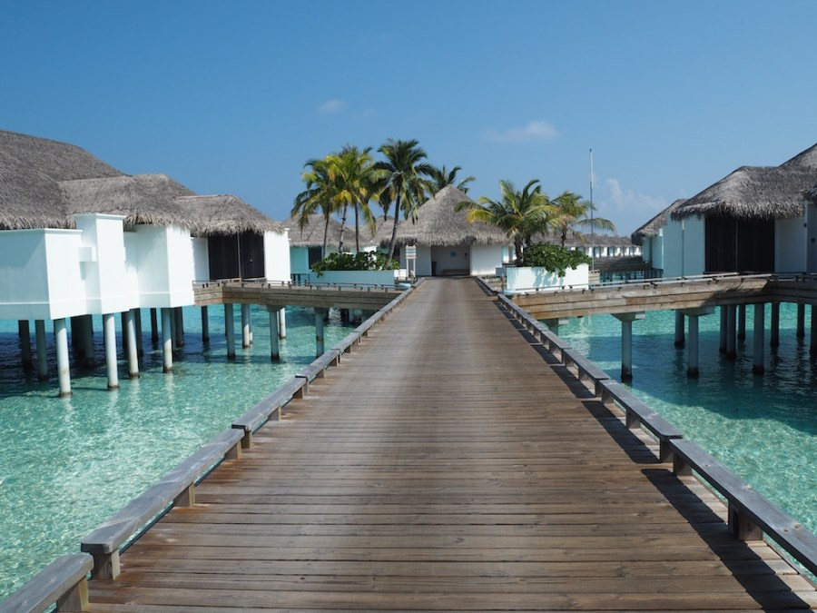 The overwater villas of Finolhu.