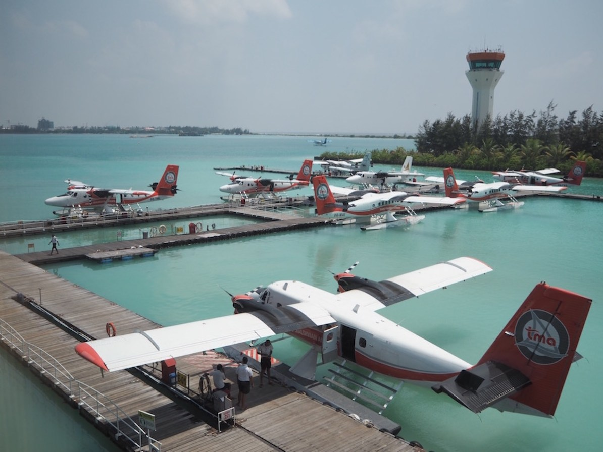 The view from the seaplane lounge. So many seaplanes!