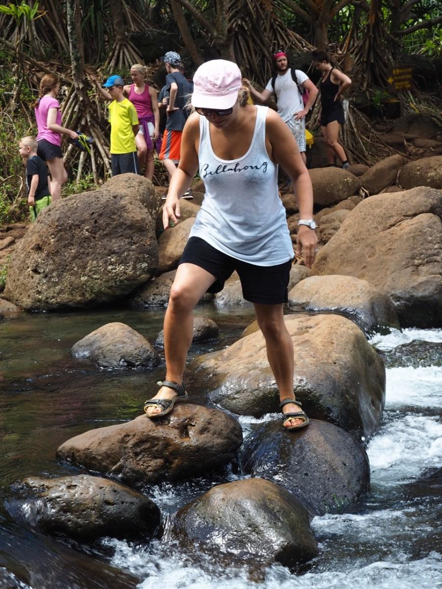 Crossing the Hanakapi`ai River.