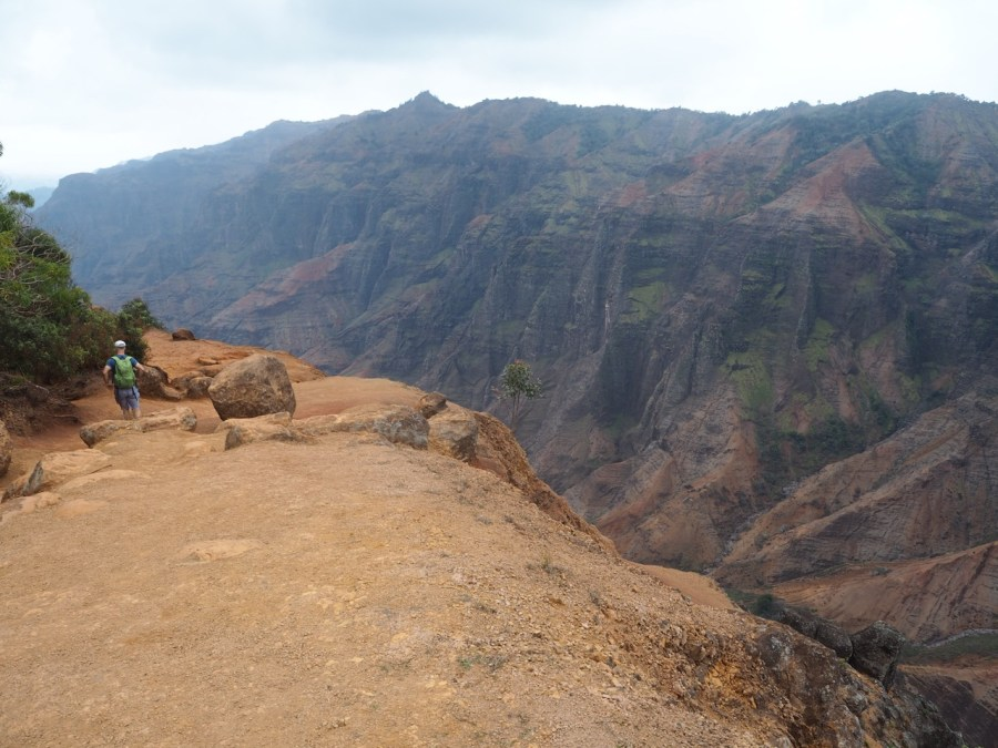Walking on the rim of the canyon.