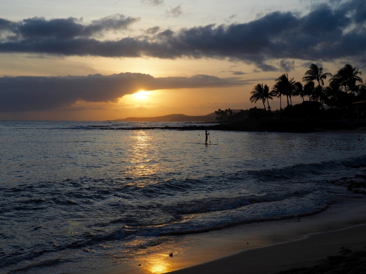 A beautiful sunset on Poipu beach.