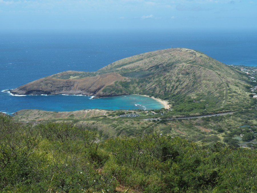 The view of Hanauna Bay from the Koko Head summit.