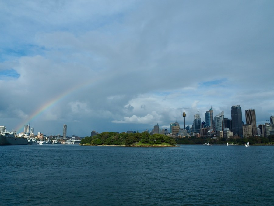 A rainbow over Sydney harbour.