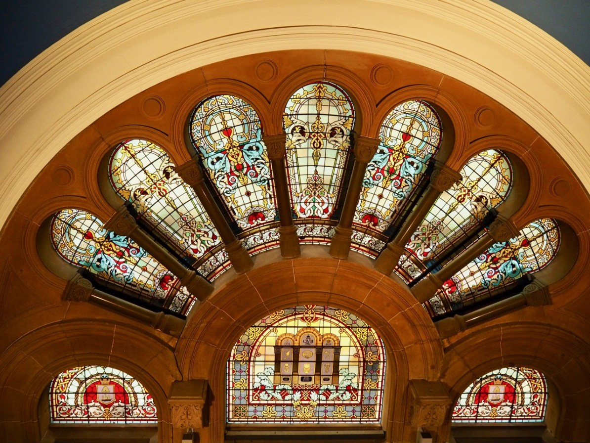 The stained glass windows.