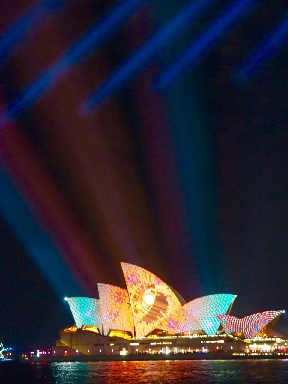 Light show over the Opera House