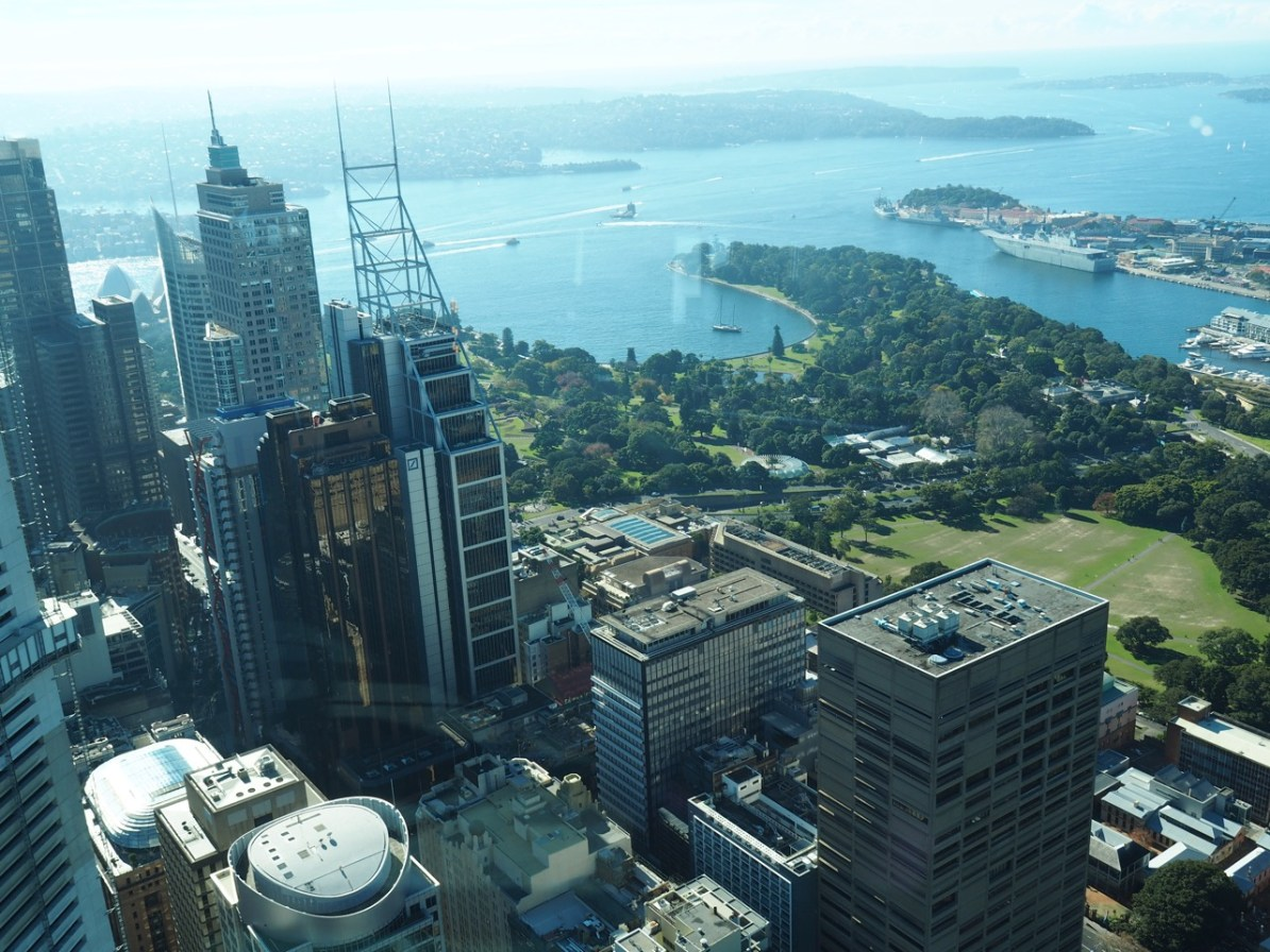 View of the Eastern Harbour and Botanic Gardens from the Sydney Tower.