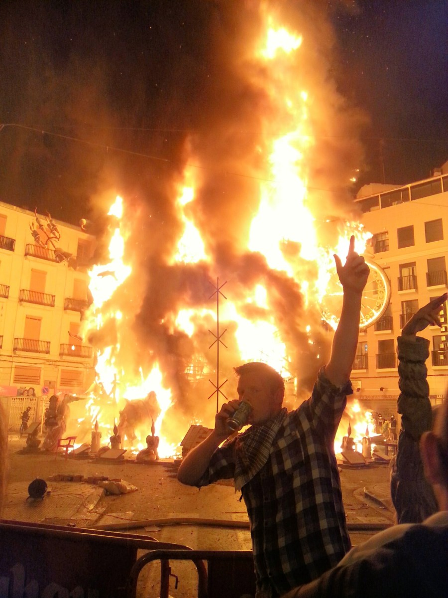 Celebrating Las Fallas in Valencia.