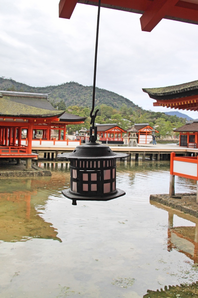 Inside the Itsukushima Shrine.