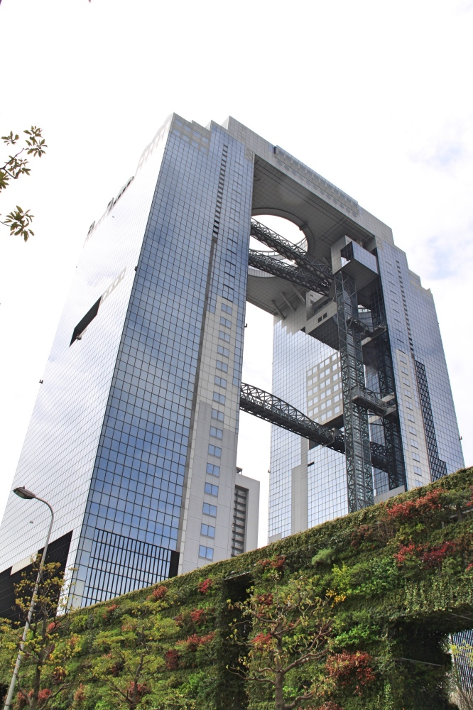The Umeda buulding from the ground.