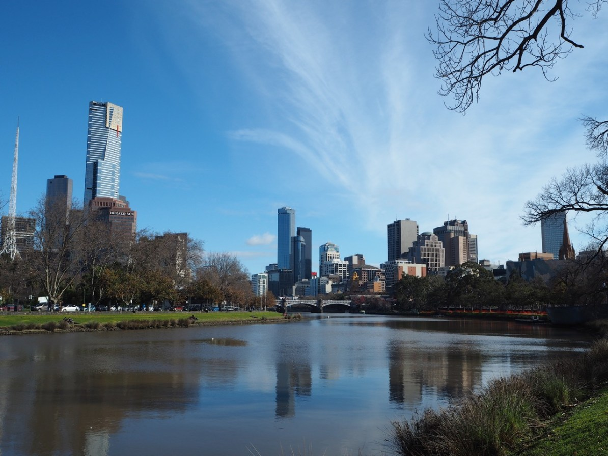The view of the Melbourne CBD from the banks of the Yarra River.