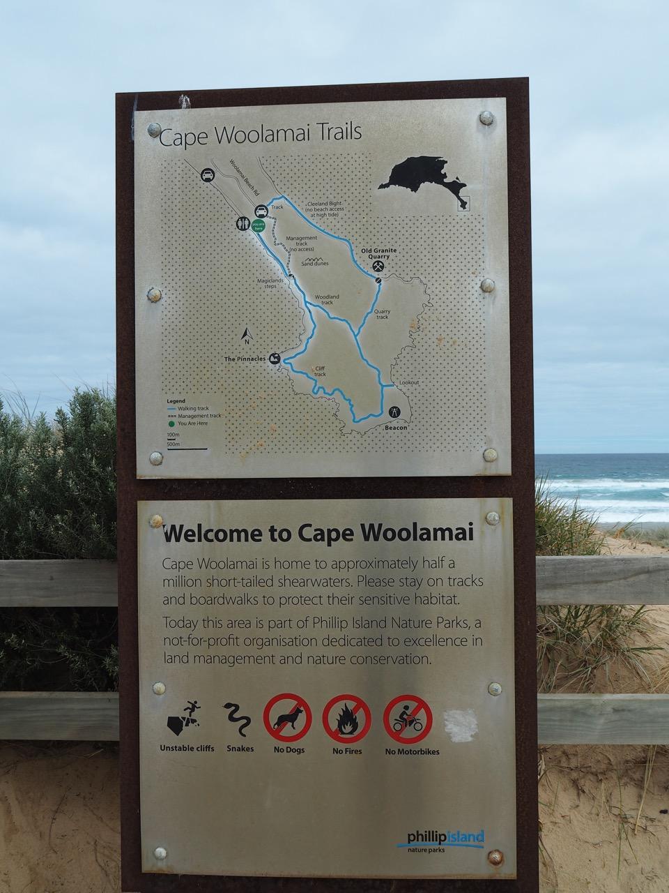 A map of Cape Woolamai's hiking trails.
