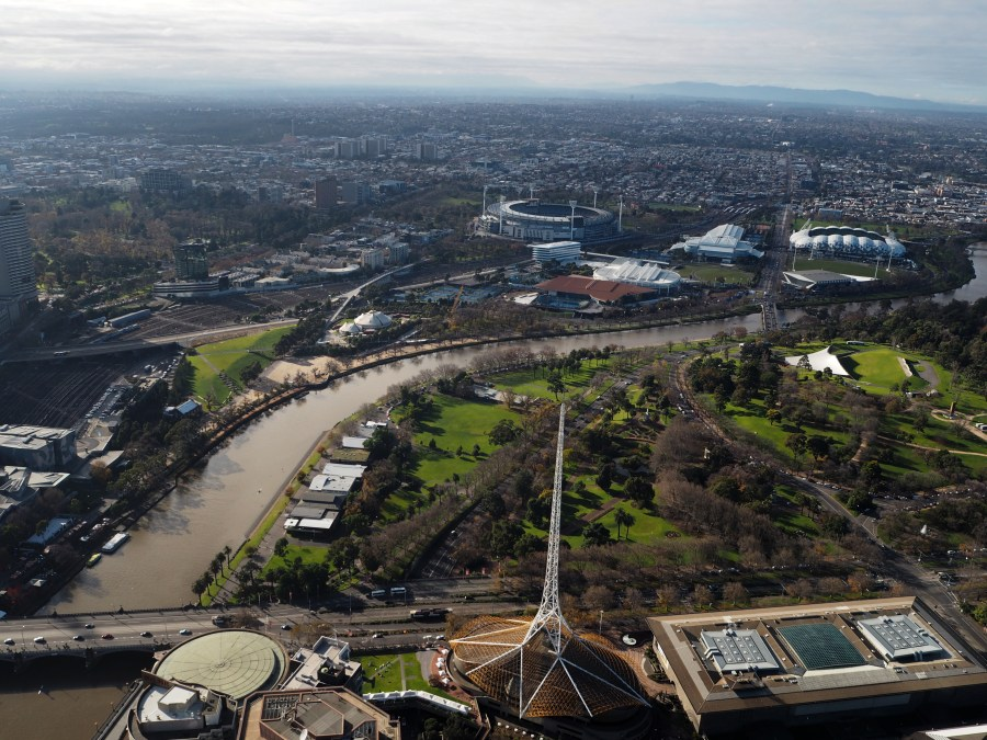 The view over Melbourne's Sports Complex from the Eureka Tower.