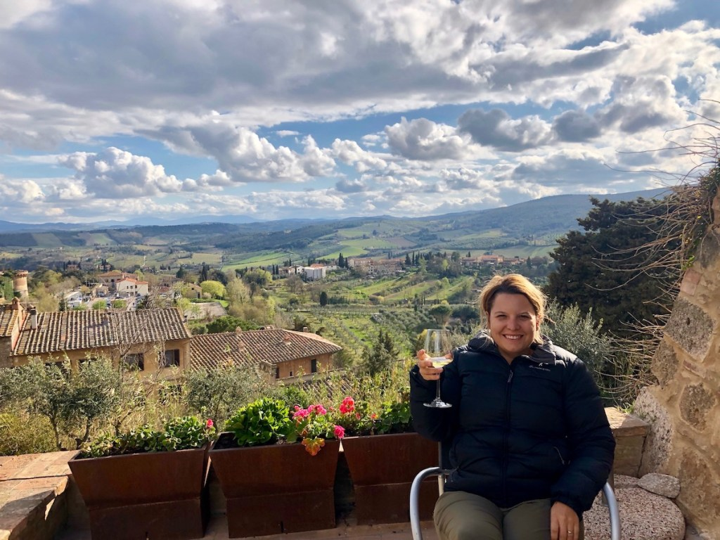 Cindy enjoying some wine tasting in San Gimignano