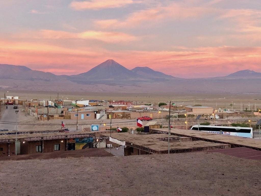 The small town of San Pedro de Atacama at sunset