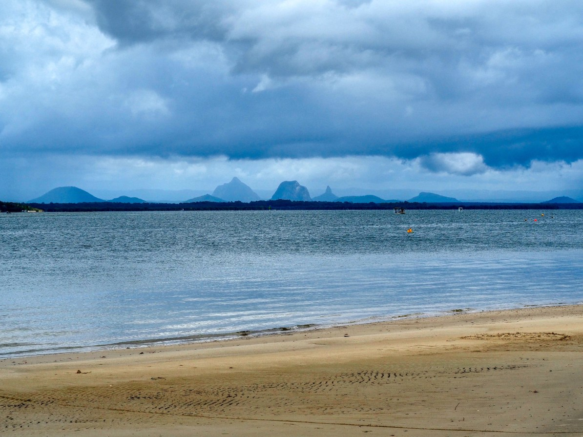 View of the Glasshouse Mountains from Bribie Island