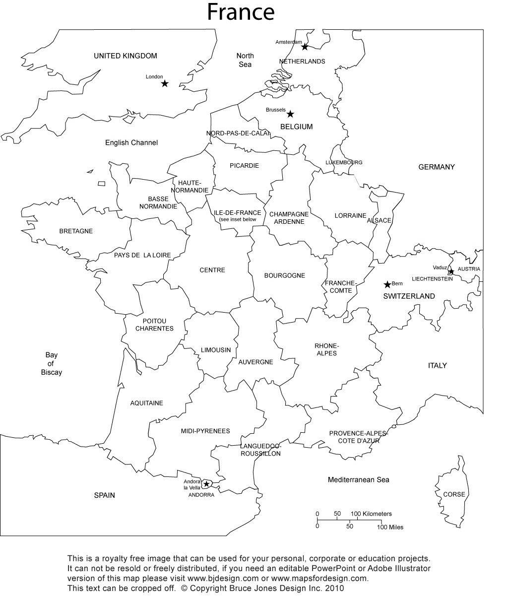 France Map Printable Blank Royalty Free