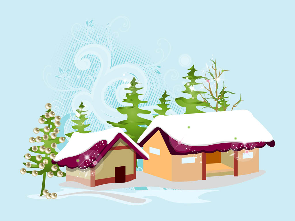 Christmas Village Vector Vector Art Amp Graphics
