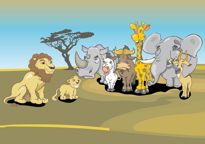 African Animals Cartoon Vector Art Graphics Freevector Com