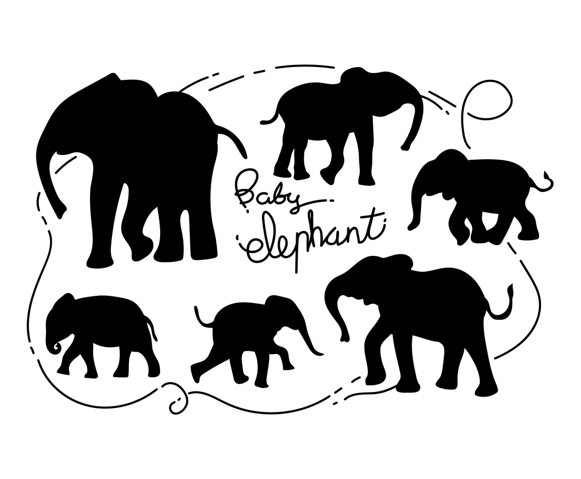 Free Baby Elephant Silhouette Vector Illustration Vector