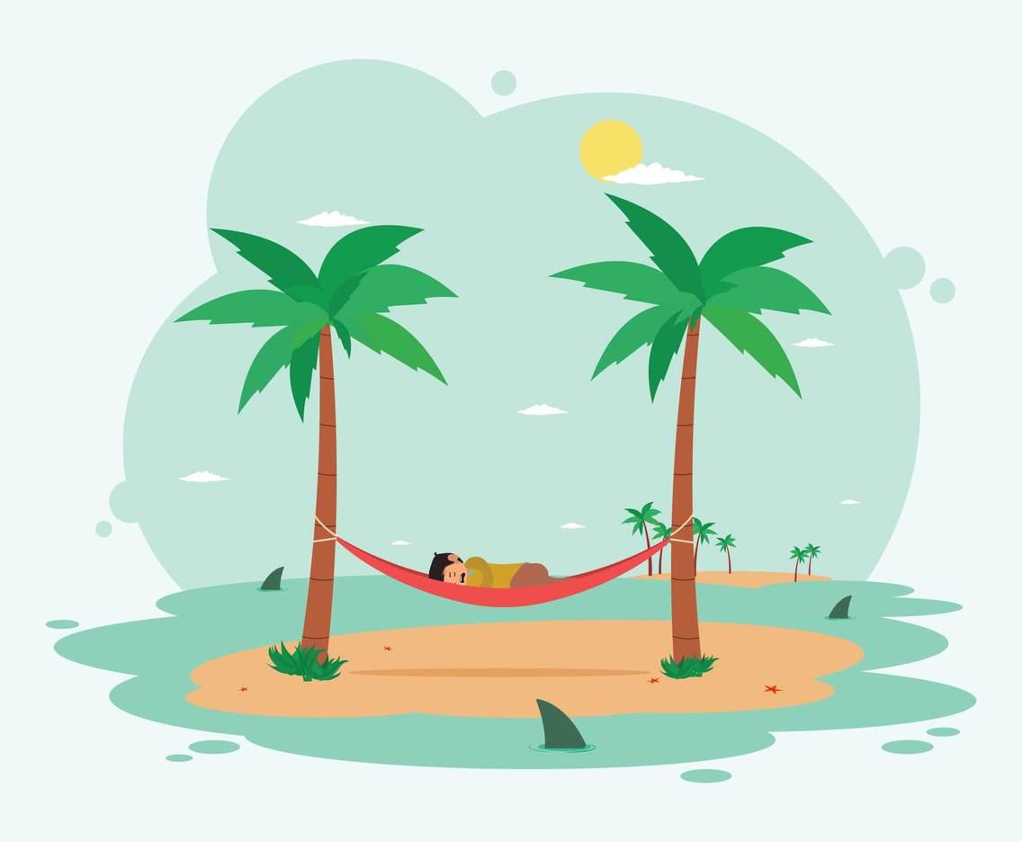 Man Sleeping In Hammock On The Beach Illustration Vector