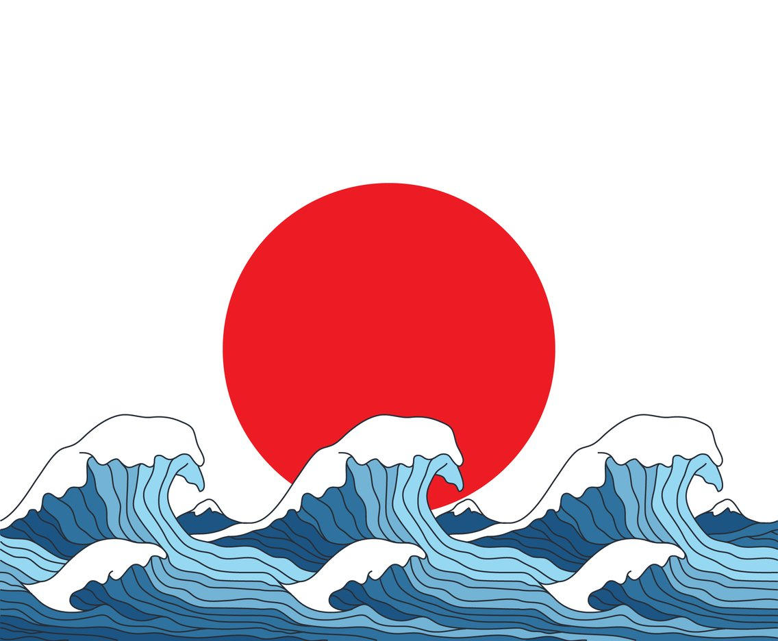 Japanese Flag With Wave Pattern Vector Art Amp Graphics