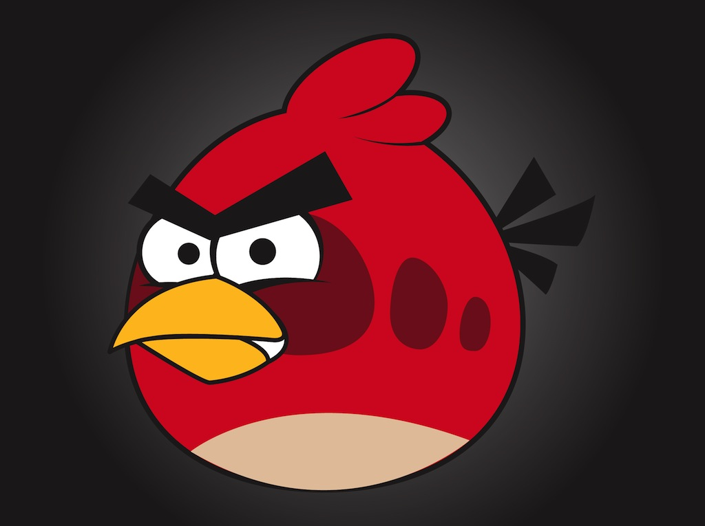 red angry bird vector art graphics