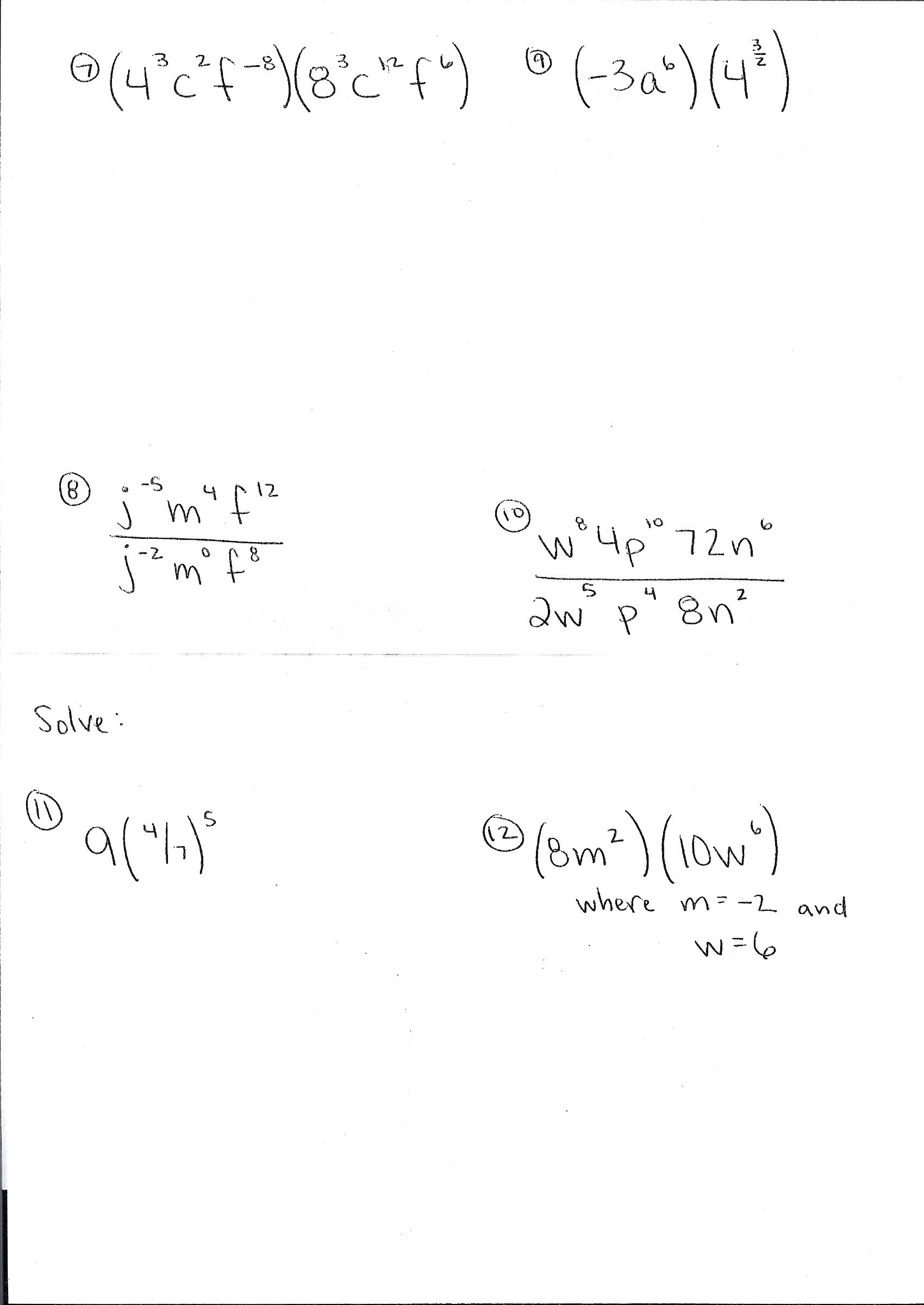 Grade 9 Math Exponents Practice Test