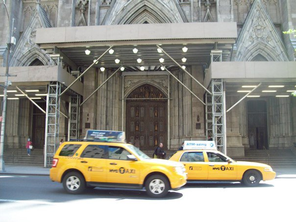 NYC Taxis; notice none are wheelchair accessible!