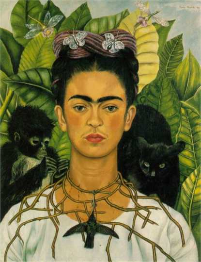 "Self-Portrait with Thorn Necklace and Hummingbird, featured in the ""Frida Kahlo: Art, Garden, Life"" exhibition"