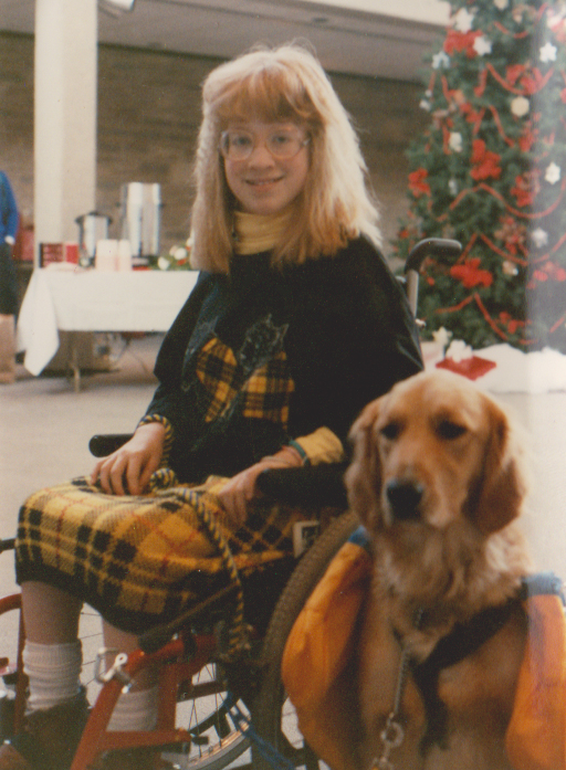 With my service dog Kennedy in 1988