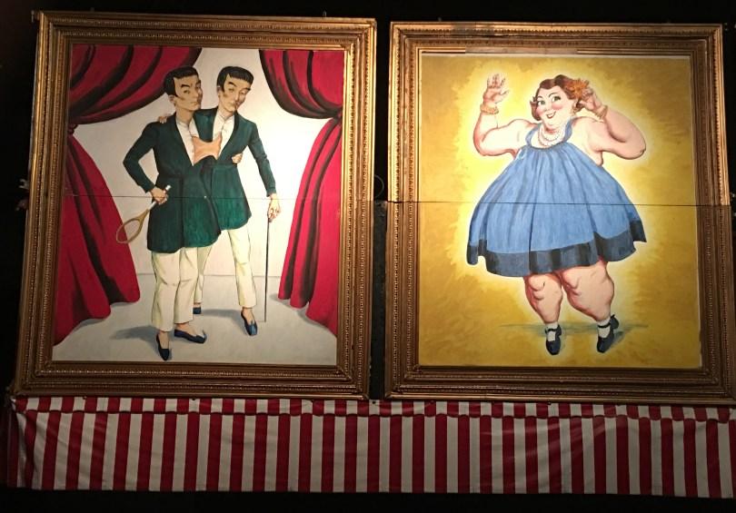Wheelchair accessible Sarasota, Florida -- vintage freak show art at the Ringling Circus Museum.