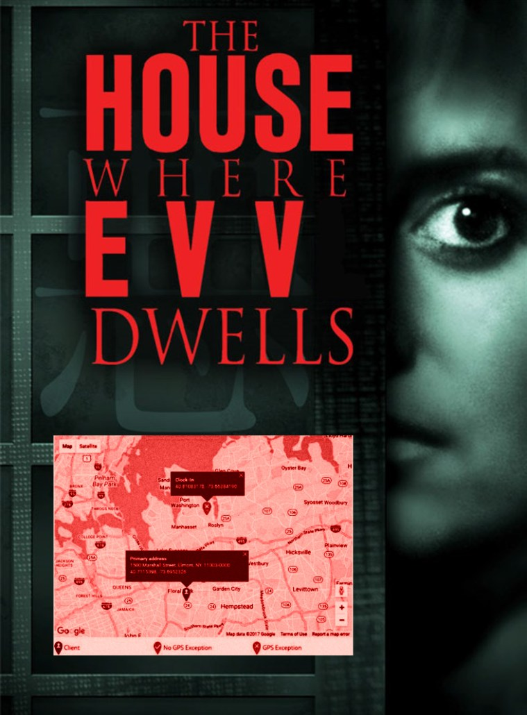 "EVV protest parody meme of a horror movie with frightened woman, GPS location map, ""The House Where EVV Dwells."""