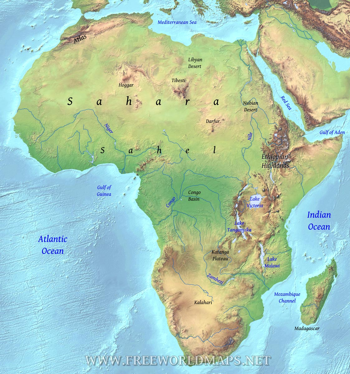 Map Of Africa Land Features